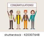 team congratulates their... | Shutterstock .eps vector #420307648