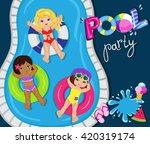 pool party for girls. vector...   Shutterstock .eps vector #420319174