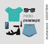 vector set of summer clothes... | Shutterstock .eps vector #420327844
