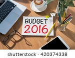 budget 2016 open book on table... | Shutterstock . vector #420374338
