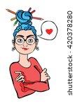 girl artist. girl in glasses....   Shutterstock .eps vector #420378280