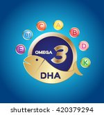 omega 3 logo and icon   dha and ... | Shutterstock .eps vector #420379294