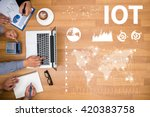 iot business team hands at work ... | Shutterstock . vector #420383758