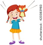 girl playing with puppet... | Shutterstock .eps vector #420383983
