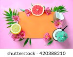 tropical fruits background ... | Shutterstock . vector #420388210