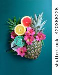 summer fruits and cocktail... | Shutterstock . vector #420388228