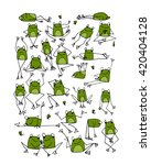 funny frogs collection  sketch... | Shutterstock .eps vector #420404128