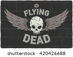 Angry Flying Skull Head With...
