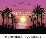summer  beach night palm... | Shutterstock .eps vector #420426976