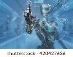 mechanical robotic arm touching ... | Shutterstock . vector #420427636