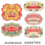 vintage labels with flower | Shutterstock .eps vector #420447493