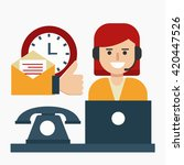 call center woman . flat design.... | Shutterstock .eps vector #420447526