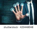 businessman passing biometric...   Shutterstock . vector #420448048