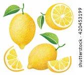 vector set of fresh ripe lemons ... | Shutterstock .eps vector #420453199