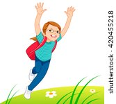 little girl running on the lawn | Shutterstock .eps vector #420455218