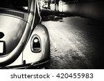 Rear Of Vintage Car   Black An...