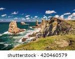 Dramatic view of Playa de la Arnia, rocky coastline in Santander ,Cantabria, Spain.