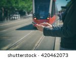 using cellphone outdoors with... | Shutterstock . vector #420462073