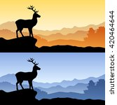 deer silhouette landscape... | Shutterstock .eps vector #420464644