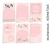 set of six pink cards with... | Shutterstock . vector #420467263