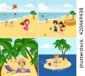 fun at summer beach. happy... | Shutterstock .eps vector #420469438