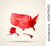geometric red map of united...   Shutterstock .eps vector #420470923