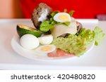 avacado  bread  bacon and egg... | Shutterstock . vector #420480820