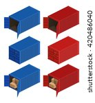 isometric container delivery.... | Shutterstock .eps vector #420486040