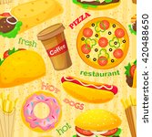 fast food background junk food... | Shutterstock .eps vector #420488650