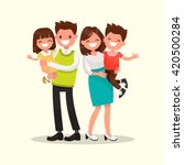 happy family. father  mother ... | Shutterstock .eps vector #420500284