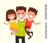 happy dad holding his son and... | Shutterstock .eps vector #420503338