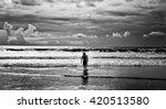Men Surfer And Ocean. Black...