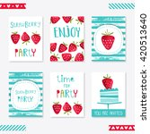 strawberry party. set of cute... | Shutterstock .eps vector #420513640