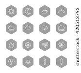 line weather icon set on gray...