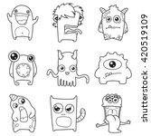 set of cartoon cute monsters.... | Shutterstock .eps vector #420519109