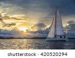 sailing boat in calm wind... | Shutterstock . vector #420520294