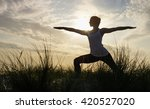 silhouette of a young woman in... | Shutterstock . vector #420527020