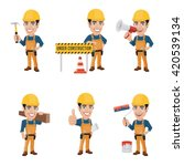set of construction worker...