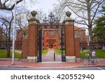 Stock photo entrance gate and east facade of sever hall at harvard yard in harvard university in cambridge 420552940