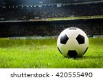 soccer on grass  and stadium. | Shutterstock . vector #420555490