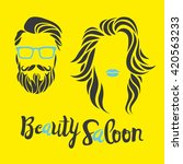 beauty saloon logo  man and... | Shutterstock .eps vector #420563233