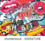 pop art i'm just a good girl... | Shutterstock .eps vector #420567148