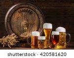 beer barrel with beer glasses... | Shutterstock . vector #420581620