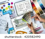 top view of architect  ... | Shutterstock . vector #420582490
