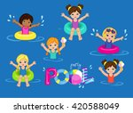 children's pool party isolated... | Shutterstock .eps vector #420588049