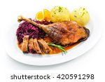 crusty goose leg with braised... | Shutterstock . vector #420591298