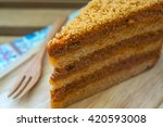 piece of thai tea cake on a...   Shutterstock . vector #420593008