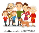 big and happy family portrait... | Shutterstock .eps vector #420596068