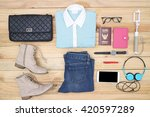 outfit of traveler  student ... | Shutterstock . vector #420597289