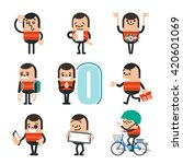 set of human character poses ... | Shutterstock .eps vector #420601069